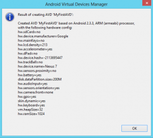 Configuration Result - AVD Manager