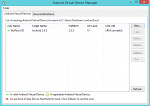 List of Devices - AVD Manager