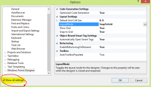 Options page visual studio