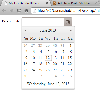 Adding Kendo UI to a webpage : Kendo UI Date Picker Function