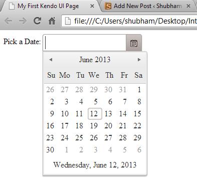 Kendo UI Date Picker