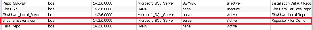 BODS Repository Configuration 5