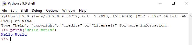 IDLE Hello World  - Learn Python Programming
