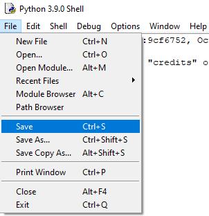 IDLE Save Menu  - Learn Python Programming